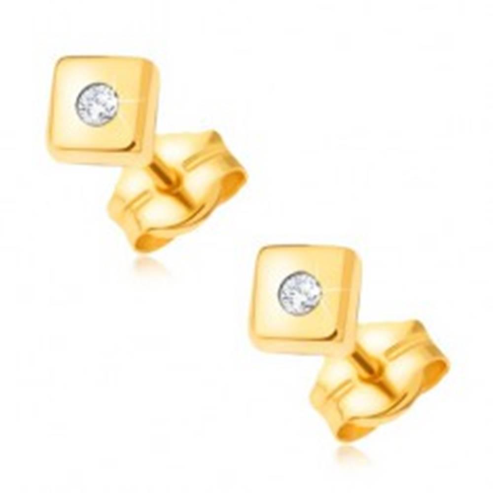 Šperky eshop Diamantové zlaté náušnice 585 - lesklé štvorce s drobným čírym briliantom v strede