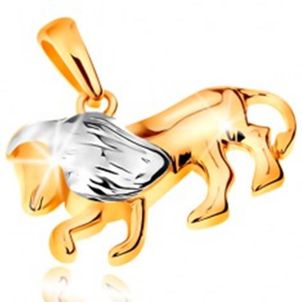 Šperky eshop Dvojfarebný zlatý prívesok 585 - symbol znamenia zverokruhu - LEV