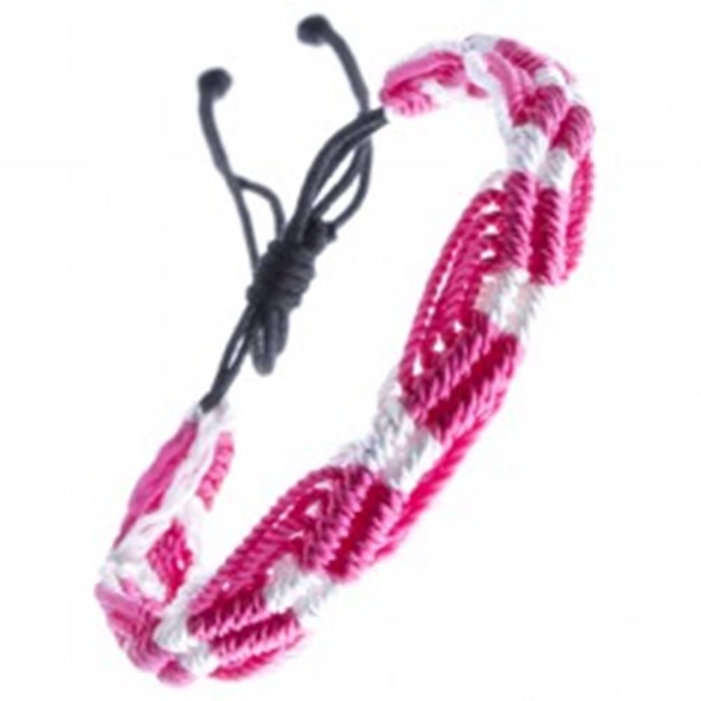 Šperky eshop Farebný pletený náramok - ružovo-biele vlnky zo šnúrok