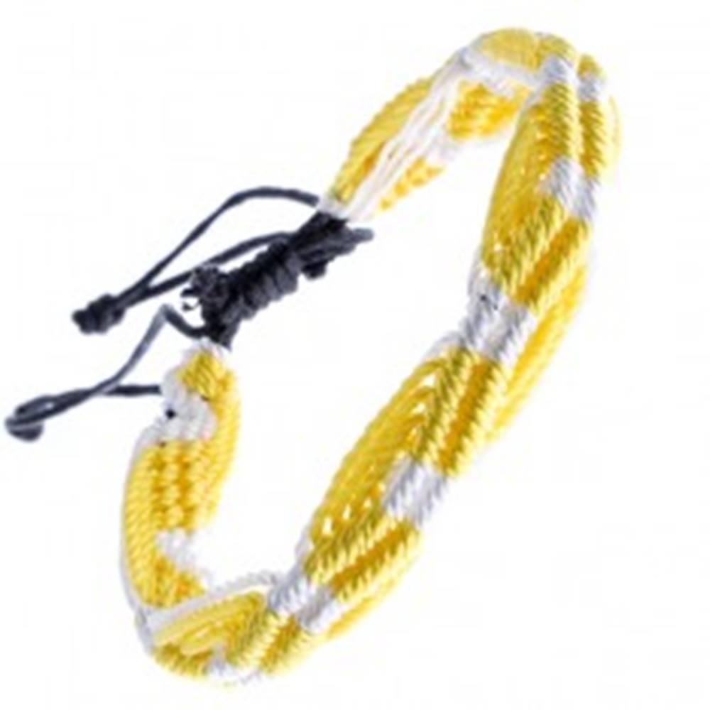 Šperky eshop Farebný pletený náramok - žlto-biele vlnky zo šnúrok