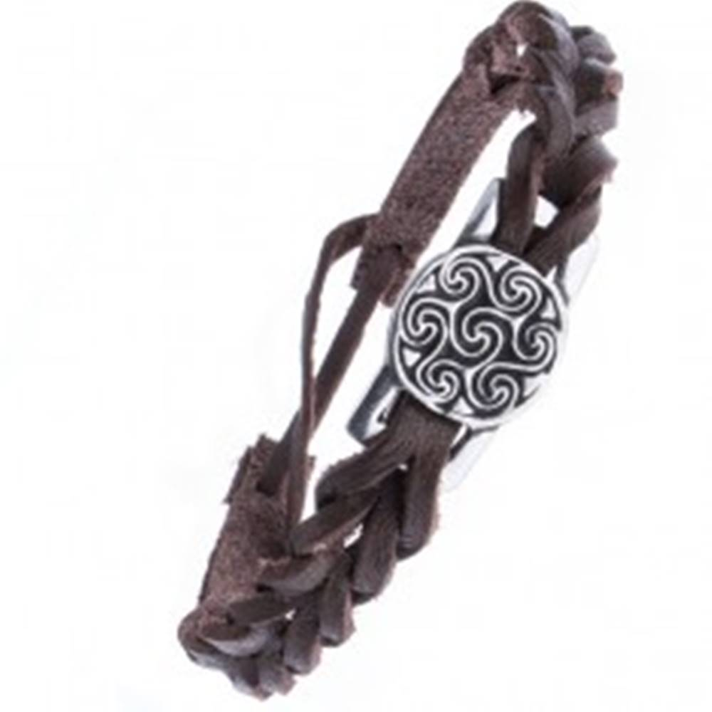 Šperky eshop Hnedý kožený náramok pletený - známka, keltský motív slnka