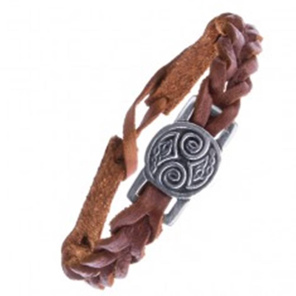 Šperky eshop Hnedý kožený náramok s keltskými uzlami na lesklej známke