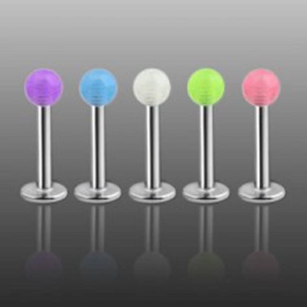 Šperky eshop Labret - priesvitná farebná gulička - Farba piercing: Biela