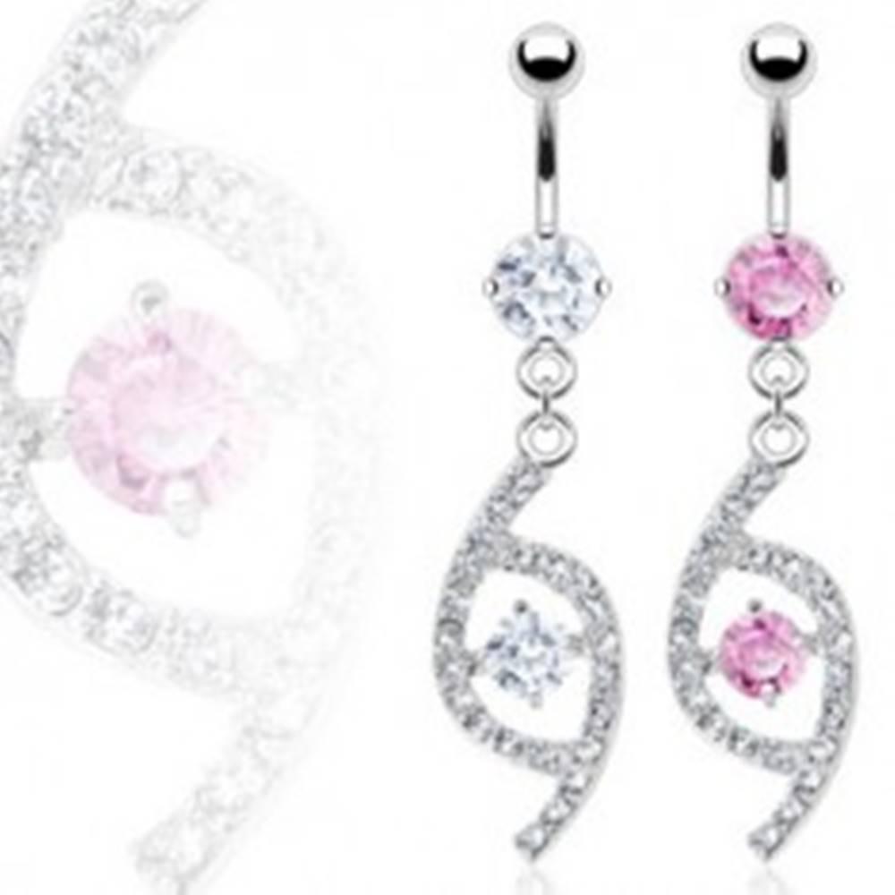 Šperky eshop Luxusný piercing do pupka slza so zirkónmi - Farba zirkónu: Číra - C