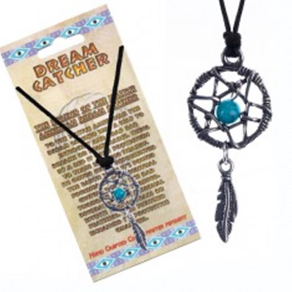 Šperky eshop Náhrdelník s lapačom snov, modrý kamienok, pierko
