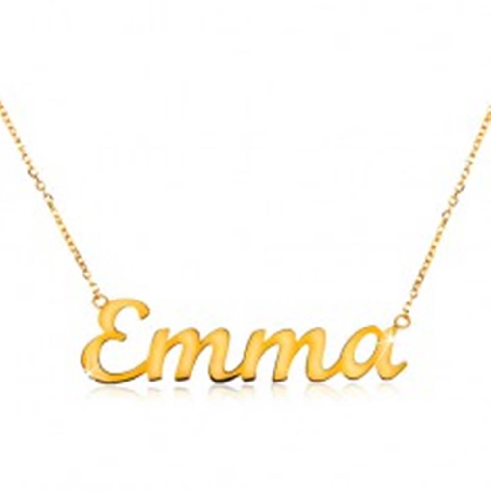 Šperky eshop Náhrdelník v žltom 14K zlate - tenká ligotavá retiazka, lesklý nápis Emma