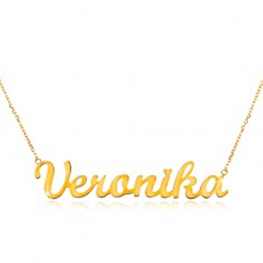 Šperky eshop Náhrdelník zo žltého 14K zlata - tenká retiazka, lesklý prívesok Veronika