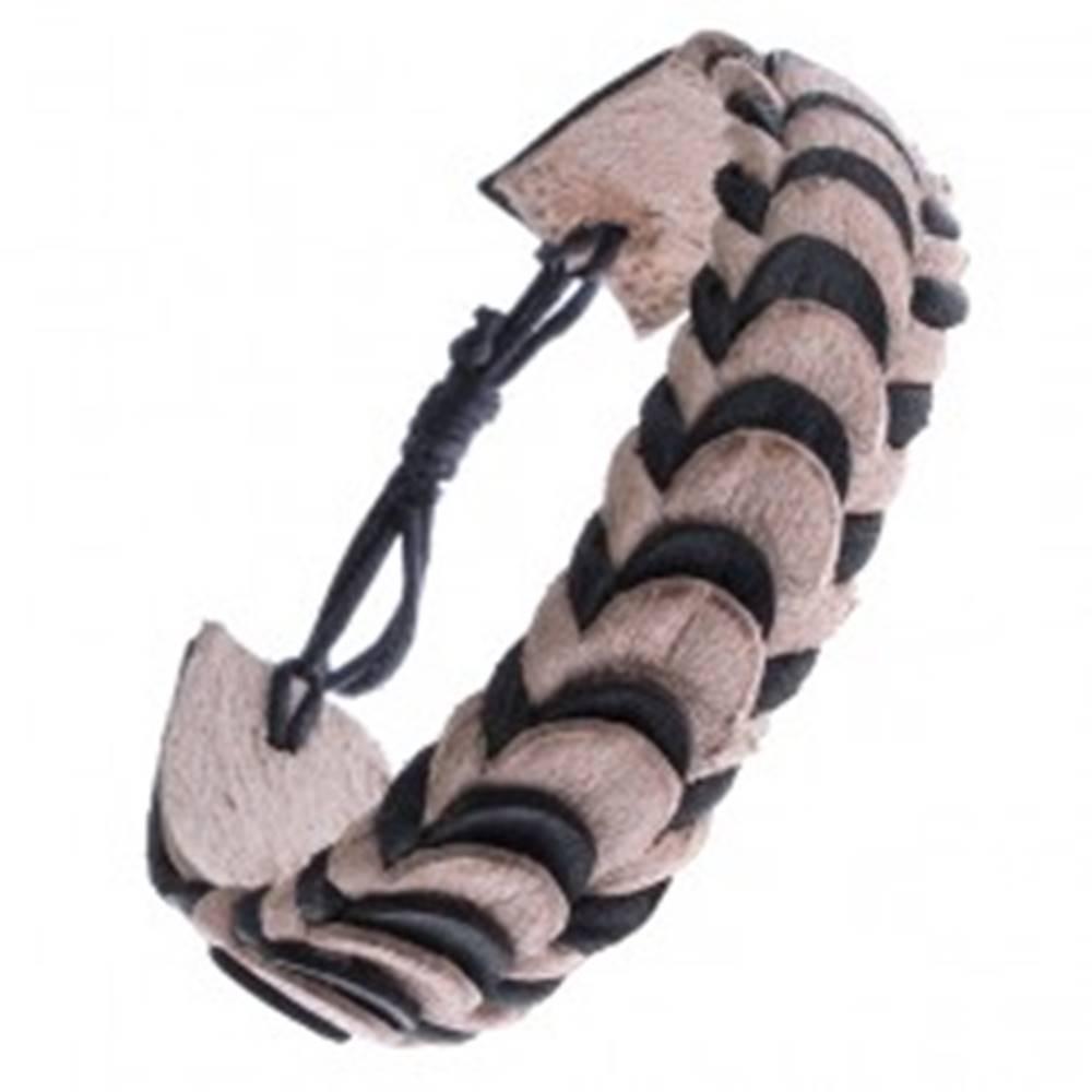 Šperky eshop Náramok z kože - čierne a béžové skladané pásy