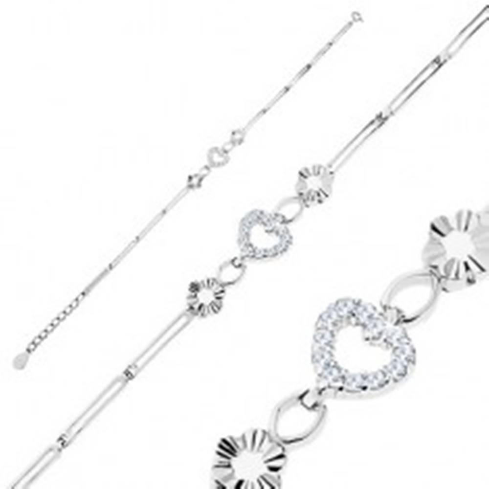 Šperky eshop Náramok zo striebra 925, lesklé podlhovasté články, kontúry kvetov a srdca