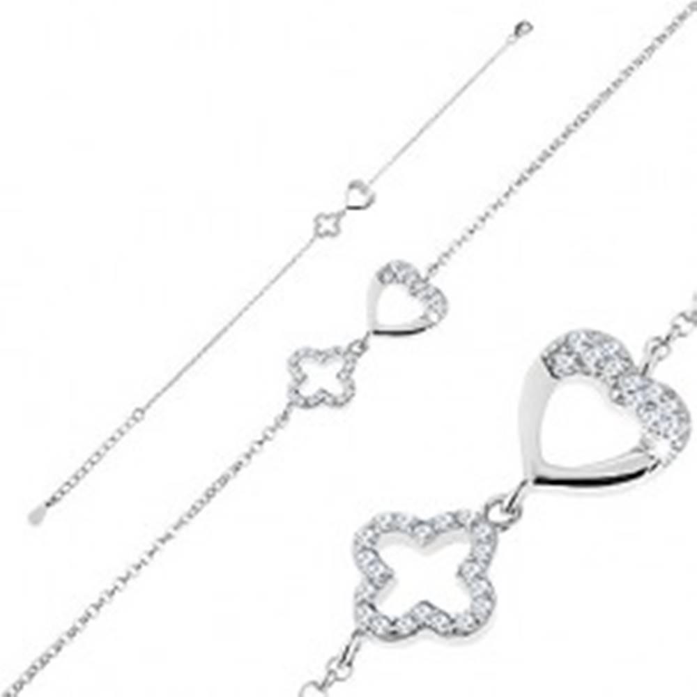 Šperky eshop Nastaviteľný náramok, striebro 925, oválne očká, obrys srdiečka a kvetu