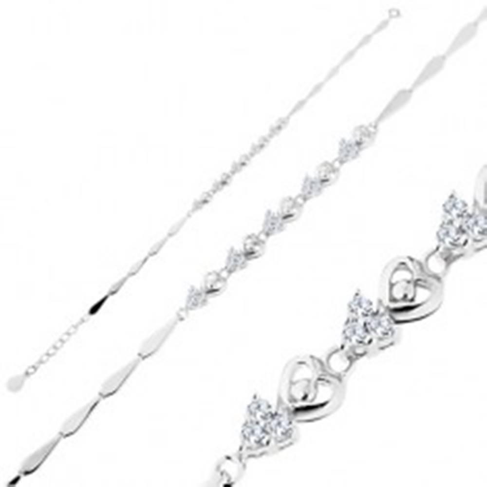 Šperky eshop Nastaviteľný náramok, striebro 925, striedajúce sa lesklé a číre zirkónové srdcia
