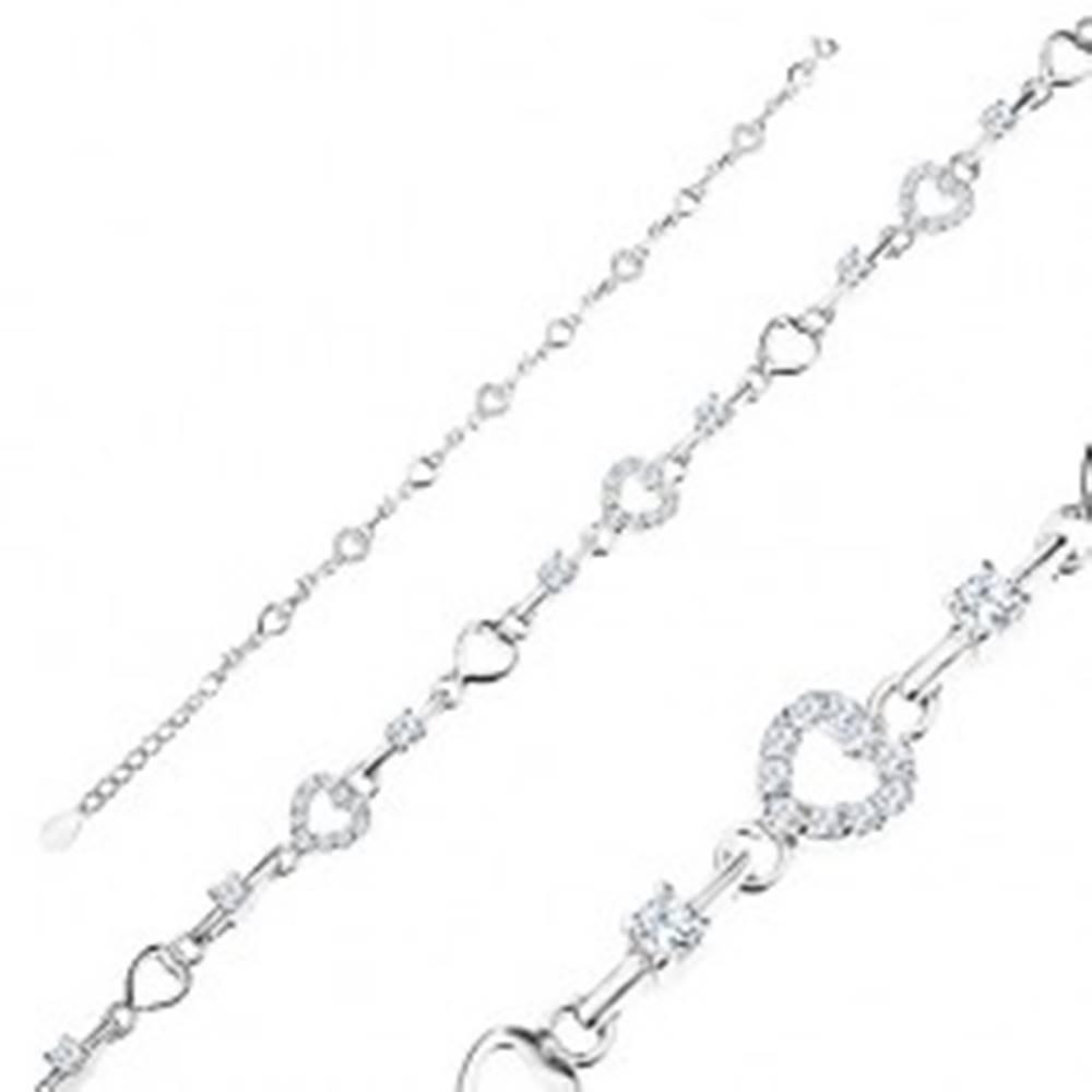Šperky eshop Nastaviteľný náramok zo striebra 925, kontúry srdiečok, číre zirkóny