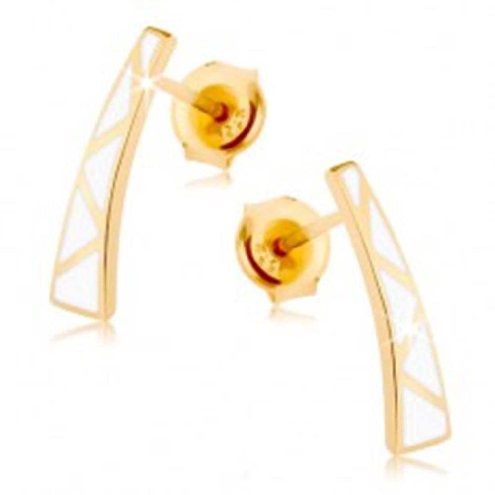 Šperky eshop Náušnice v žltom 9K zlate - rozšírený pásik, biele trojuholníčky