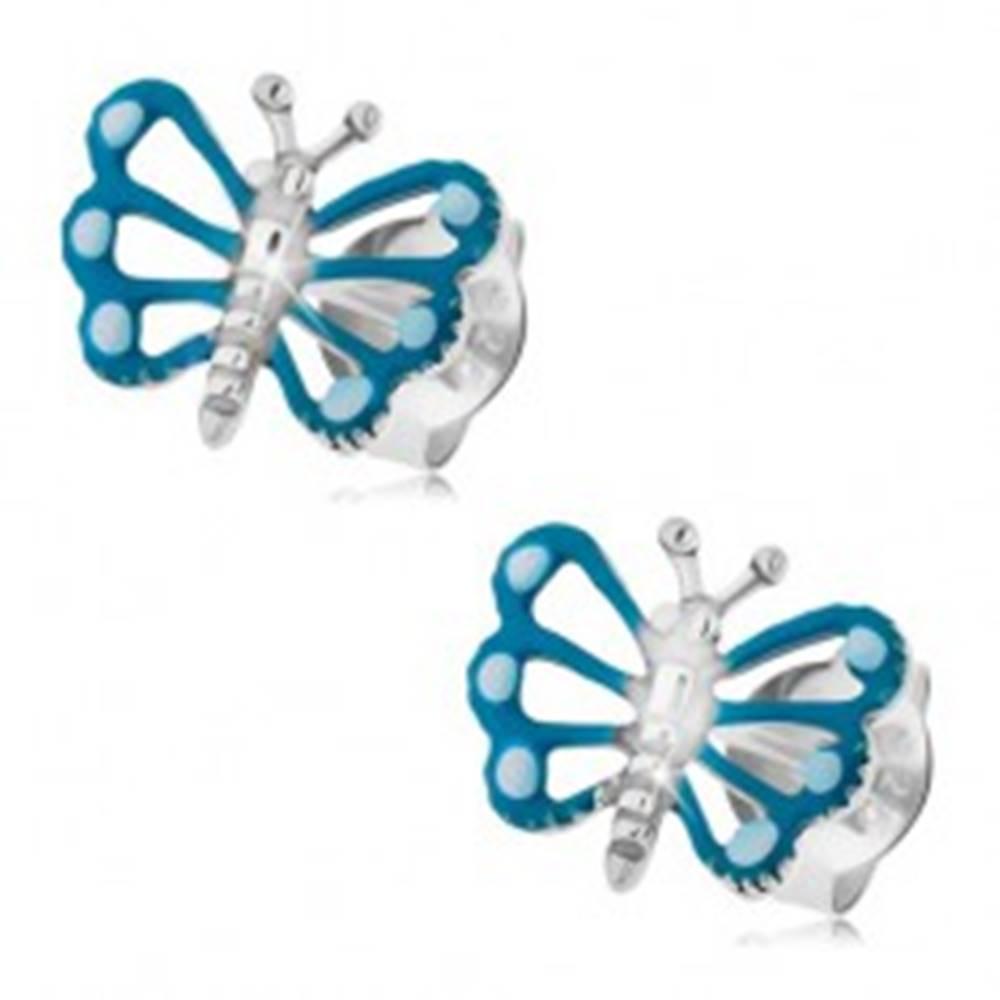 Šperky eshop Náušnice zo striebra 925, motýľ s modrými krídlami a lesklým telom