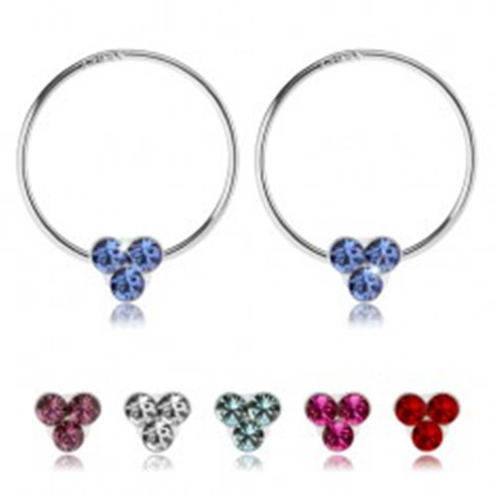 Šperky eshop Náušnice zo striebra 925, tenký krúžok, tri Swarovského krištále, rôzne farby - Farba: Červená