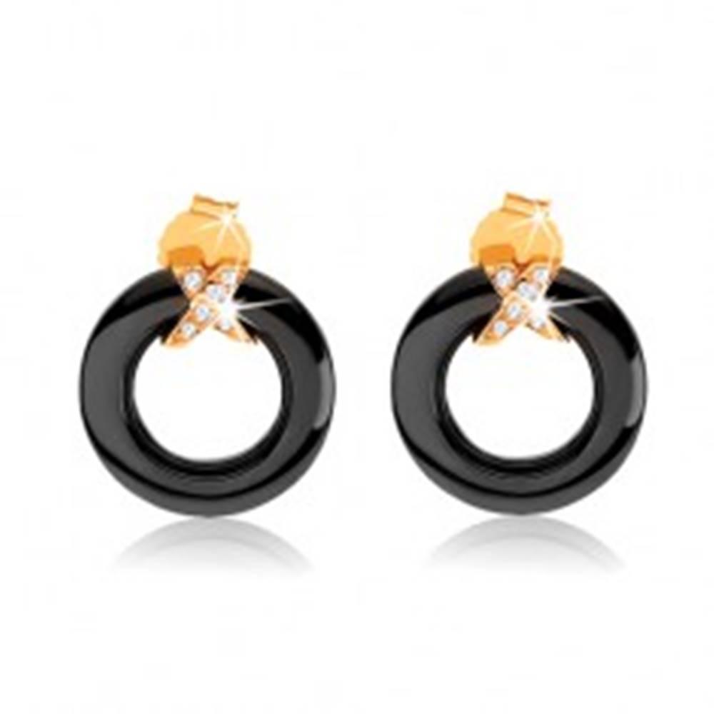 Šperky eshop Náušnice zo zlata 375, čierny obrys kruhu z keramiky, prekrížené pásy so zirkónmi