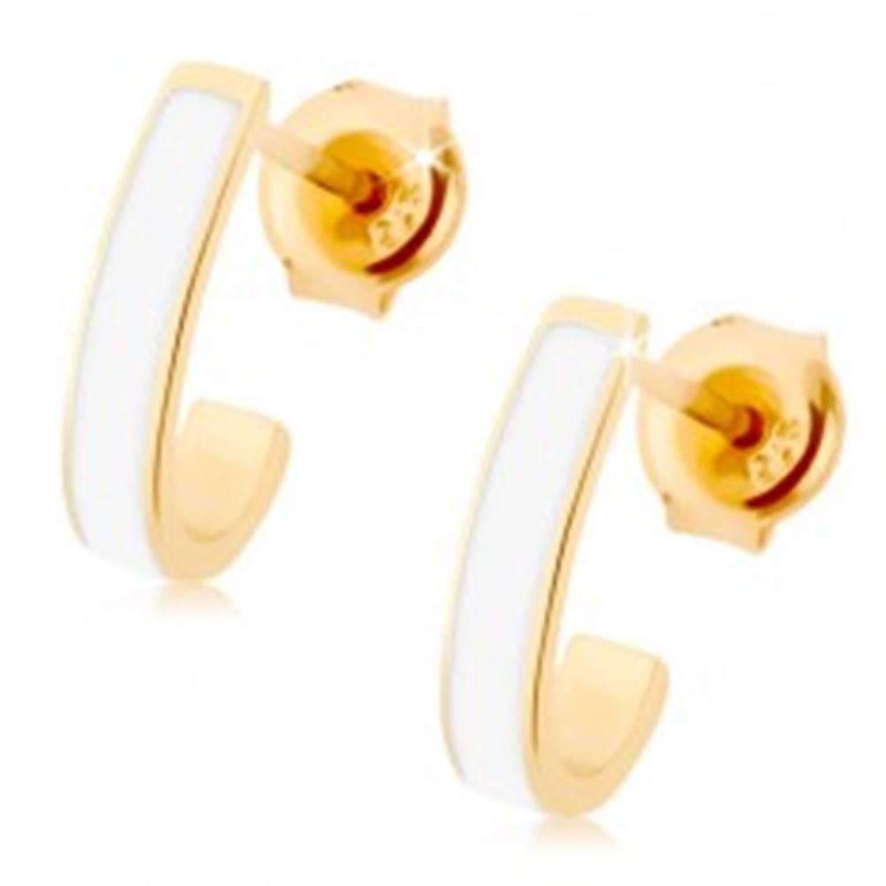 Šperky eshop Náušnice zo žltého 9K zlata - lesklý nesúmerný oblúk, pásik bielej glazúry