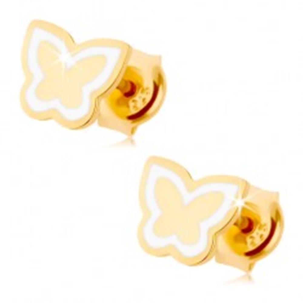 Šperky eshop Náušnice zo žltého 9K zlata - lesklý plochý motýlik, kontúra z bielej glazúry