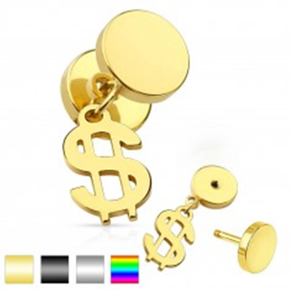 Šperky eshop Nepravý plug do ucha z chirurgickej ocele, lesklé kruhy, symbol dolára - Farba piercing: Čierna
