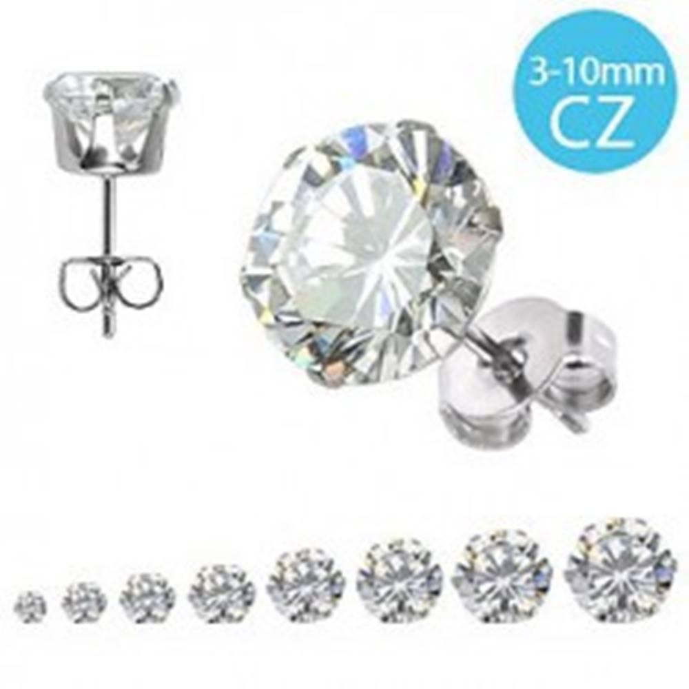 Šperky eshop Oceľové náušnice 316L - okrúhly ligotavý zirkón čírej farby, rôzne veľkosti - Veľkosť zirkónu: 10 mm
