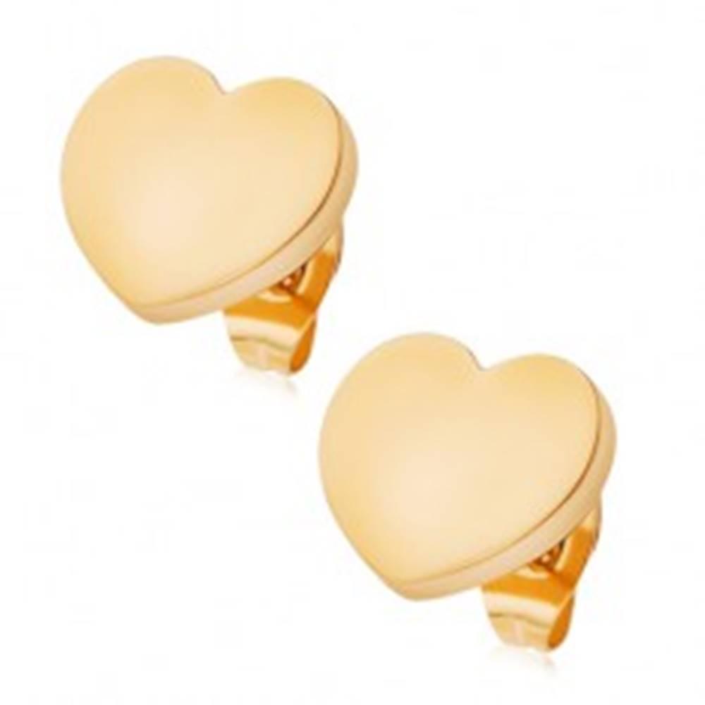 Šperky eshop Oceľové náušnice zlatej farby, zrkadlovolesklé srdiečka, puzetky