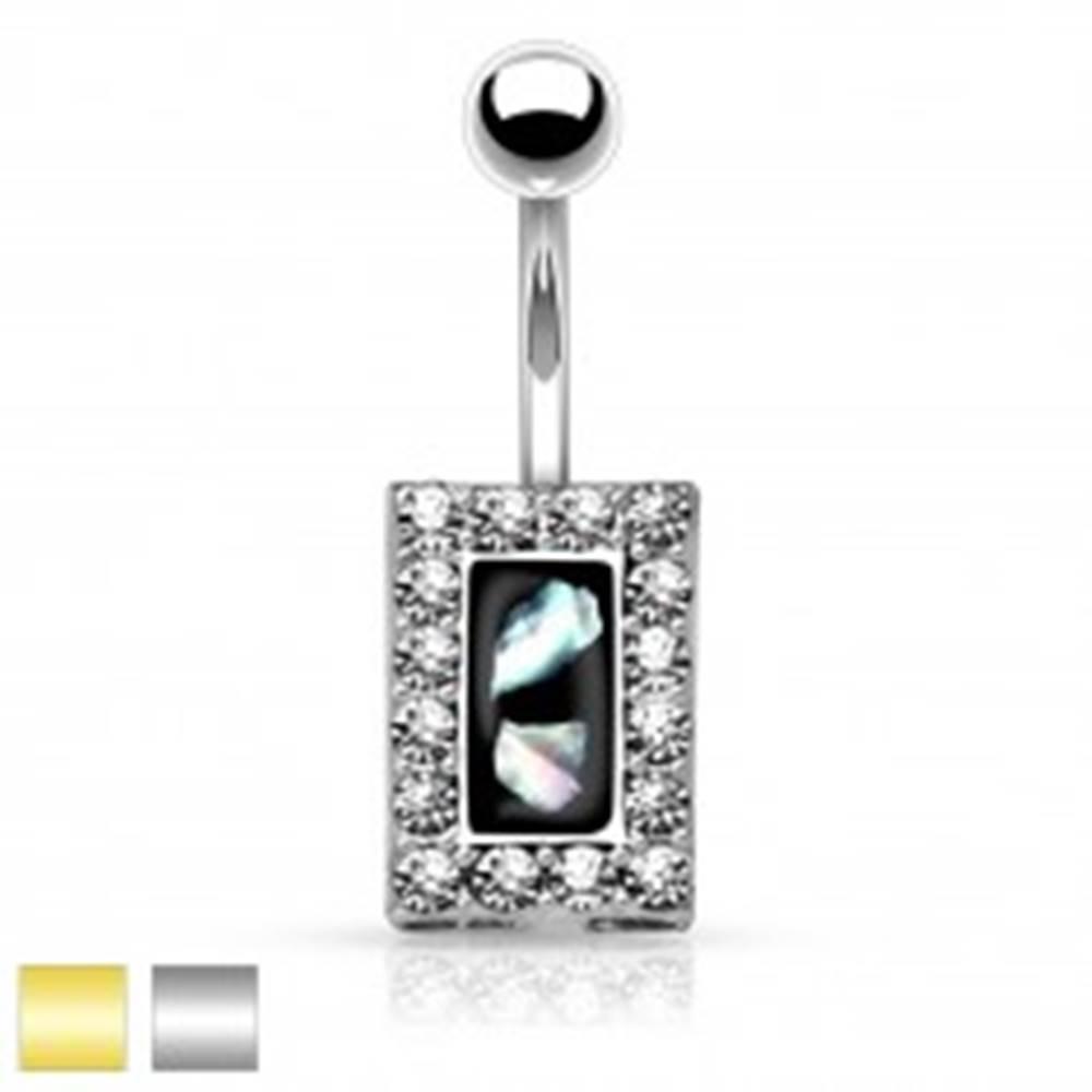 Šperky eshop Oceľový piercing do brucha, čierny obdĺžnik s kúskami perlete, zirkónový lem - Farba piercing: Strieborná