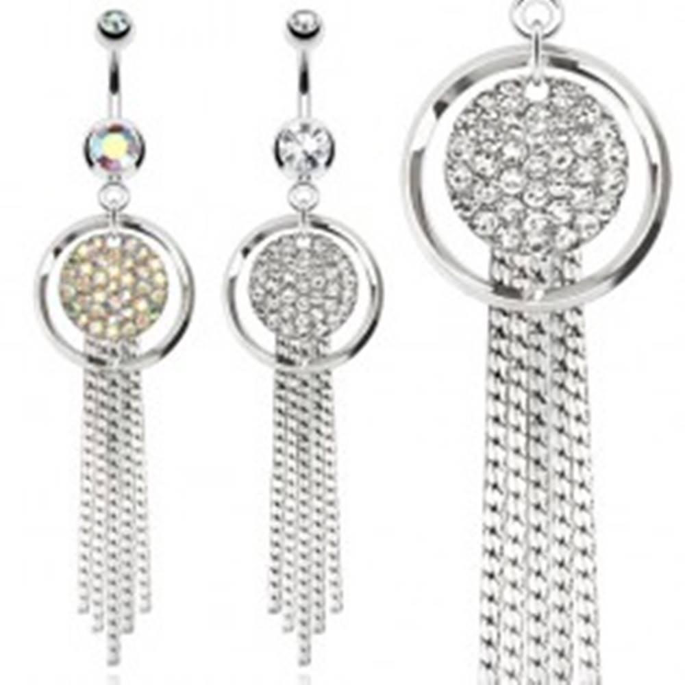 Šperky eshop Oceľový piercing do bruška, obrys kruhu a kruh vykladaný kamienkami, retiazky - Farba zirkónu: Číra - C
