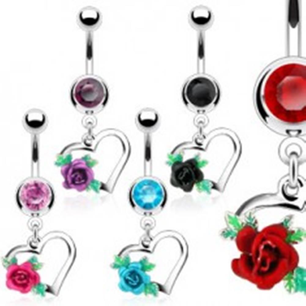 Šperky eshop Oceľový piercing do bruška, obrys srdca, rozkvitnutá ruža s lístkami, zirkóny - Farba zirkónu: Aqua modrá - Q