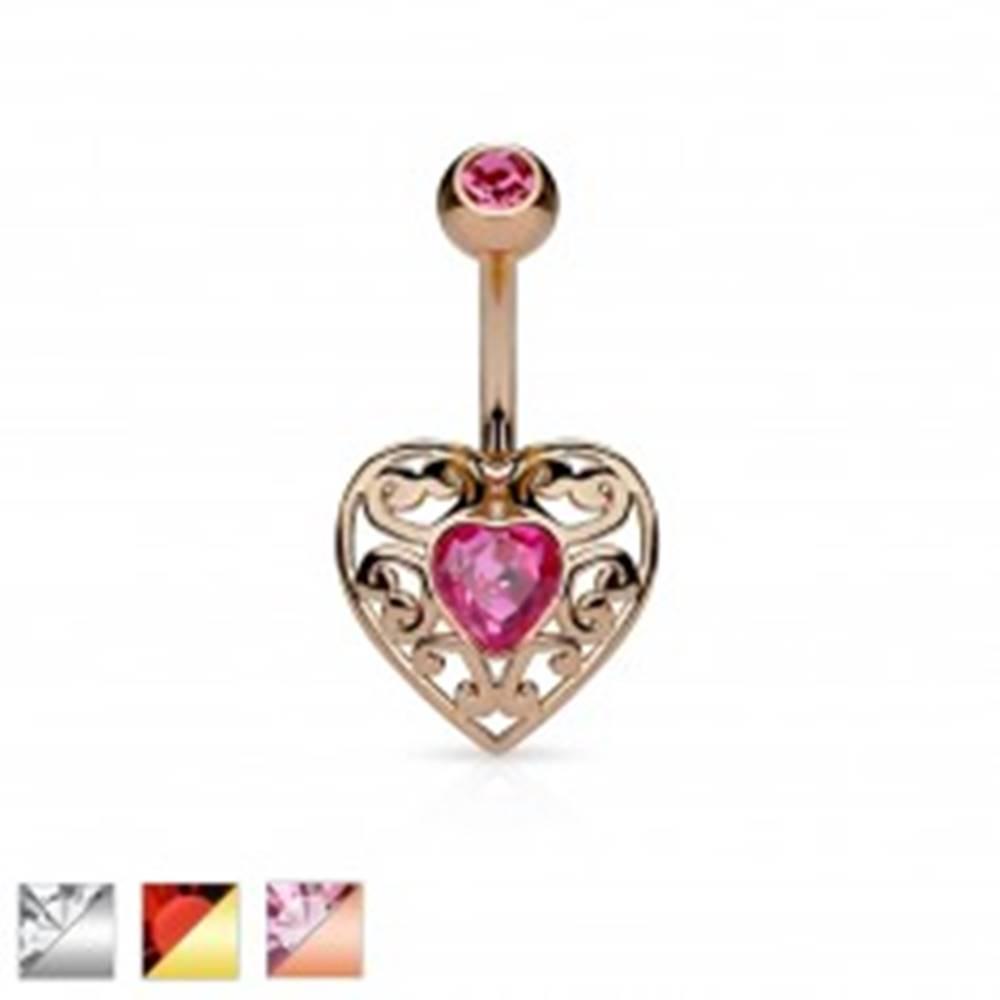 Šperky eshop Piercing do bruška z chirurgickej ocele, vyrezávané srdce so zirkónom v strede - Farba piercing: Medená