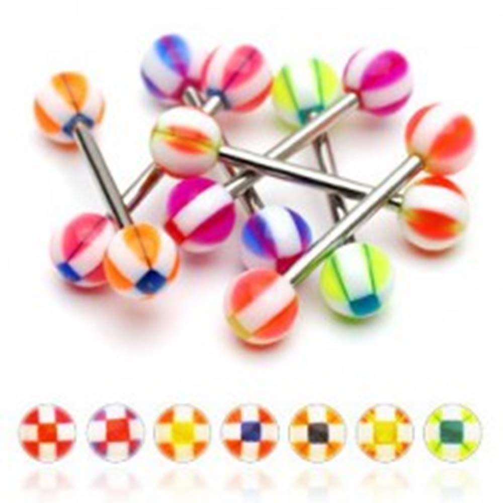 Šperky eshop Piercing do jazyka gulička so štvorčekmi - Farba piercing: Červená