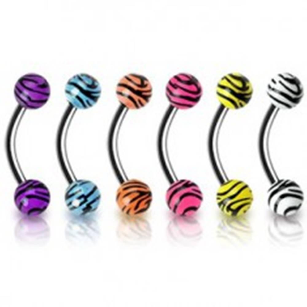 Šperky eshop Piercing do obočia - tigrovaný vzor - Farba piercing: Biela