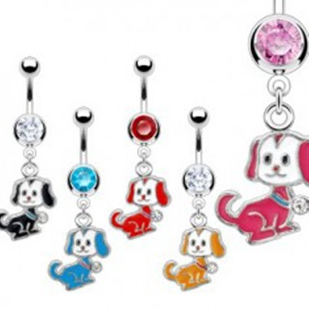 Šperky eshop Piercing do pupku - pes - Farba piercing: Aqua