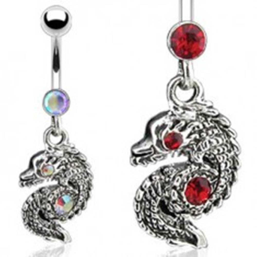 Šperky eshop Piercing do pupku - skrútený had so zirkónmi - Farba zirkónu: Červená - R