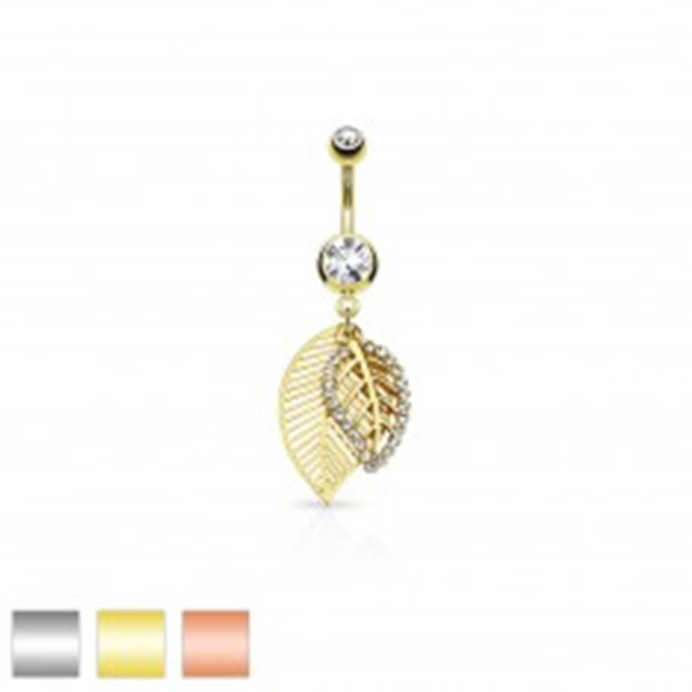 Šperky eshop Piercing do pupku z ocele 316L, dva lístočky zdobené výrezmi a čírymi zirkónmi - Farba piercing: Medená