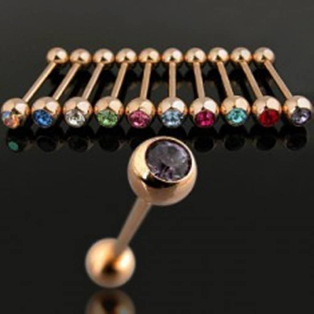 Šperky eshop Piercing zlatej farby s farebným zikrónom - Farba zirkónu: Aqua modrá - Q
