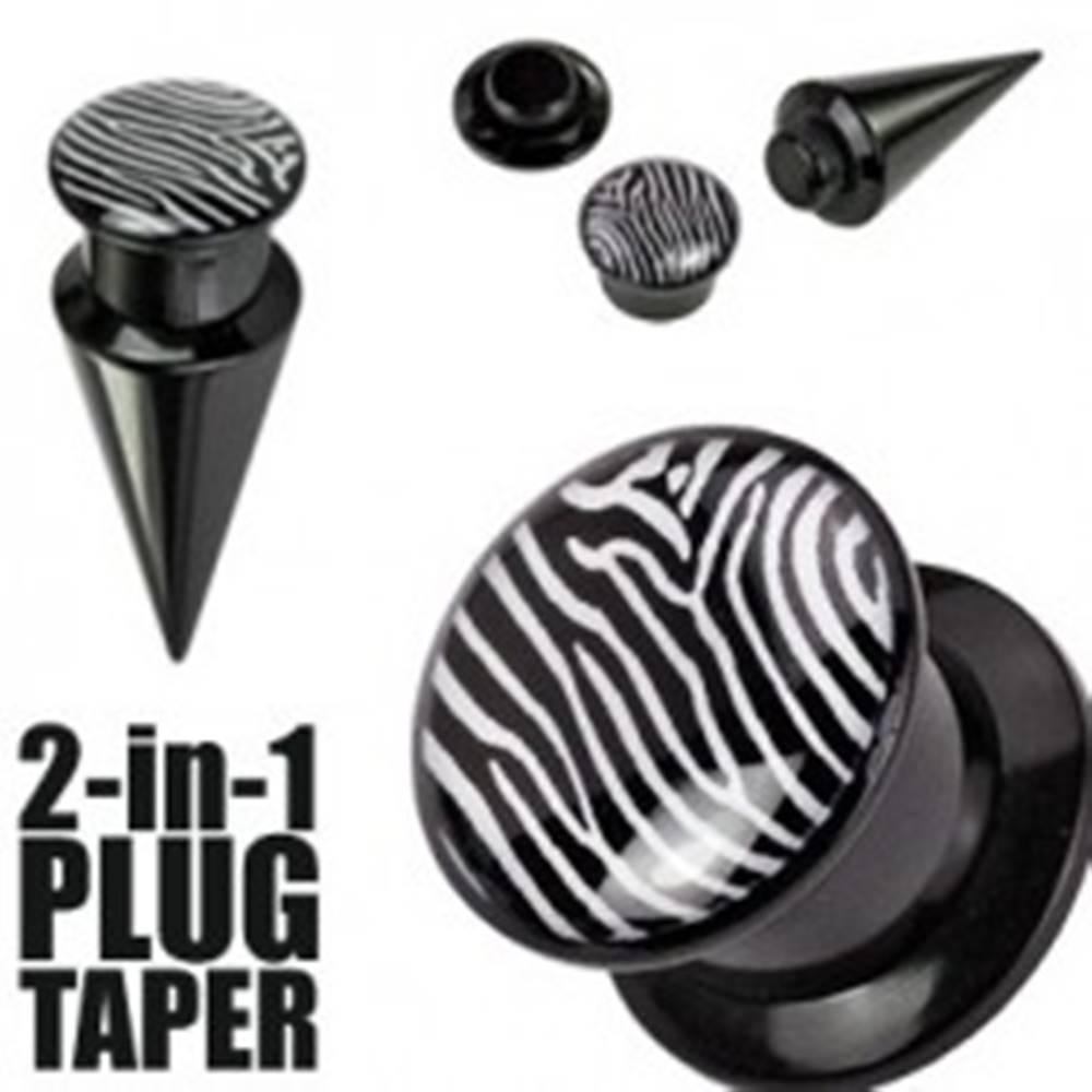 Šperky eshop Plug a taper čierny a zebrovaný - Hrúbka: 10 mm
