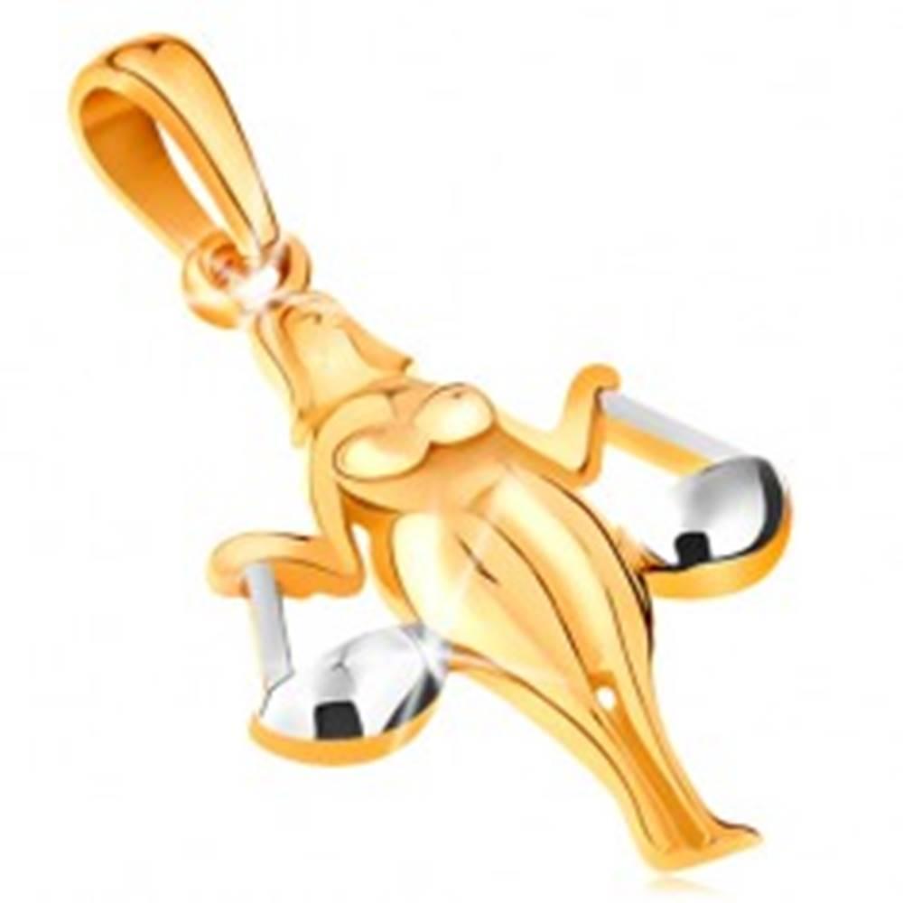 Šperky eshop Prívesok v 14K zlate - lesklý dvojfarebný symbol zverokruhu - VÁHY