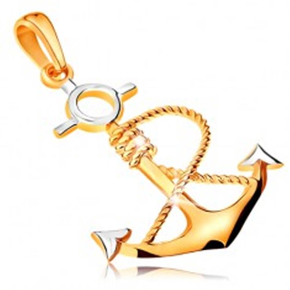 Šperky eshop Prívesok v kombinovanom 14K zlate - kotva s obtočeným lanom
