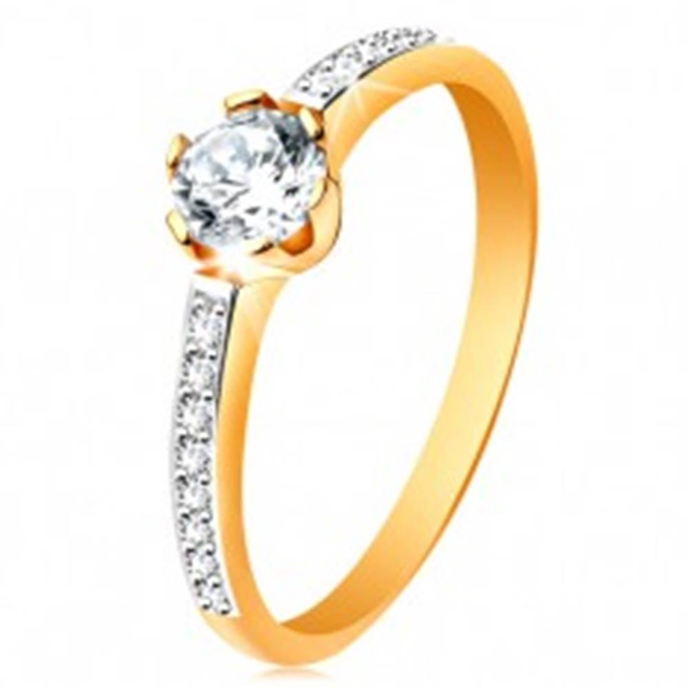 Šperky eshop Prsteň zo 14K zlata - žiarivý okrúhly zirkón čírej farby, zirkónové ramená - Veľkosť: 48 mm