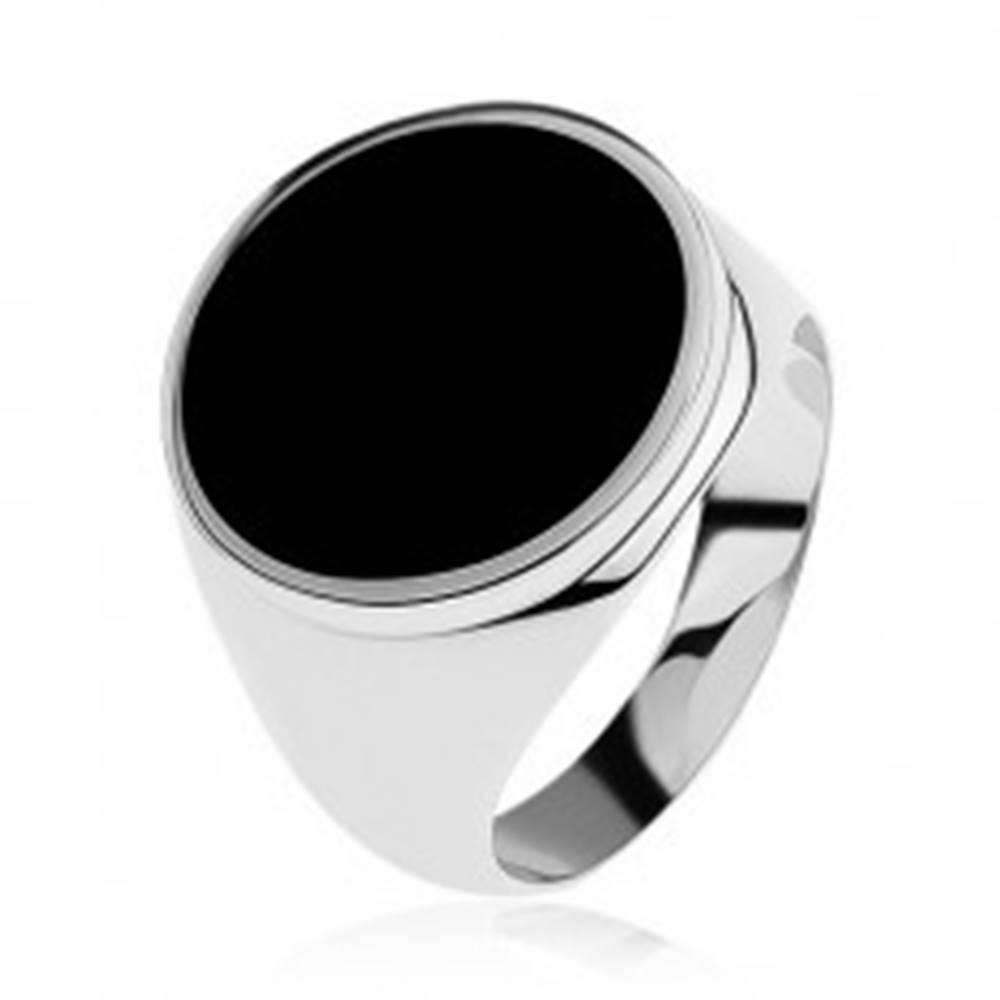 Šperky eshop Prsteň zo striebra 925 s čiernym glazúrovaným kruhom - Veľkosť: 54 mm