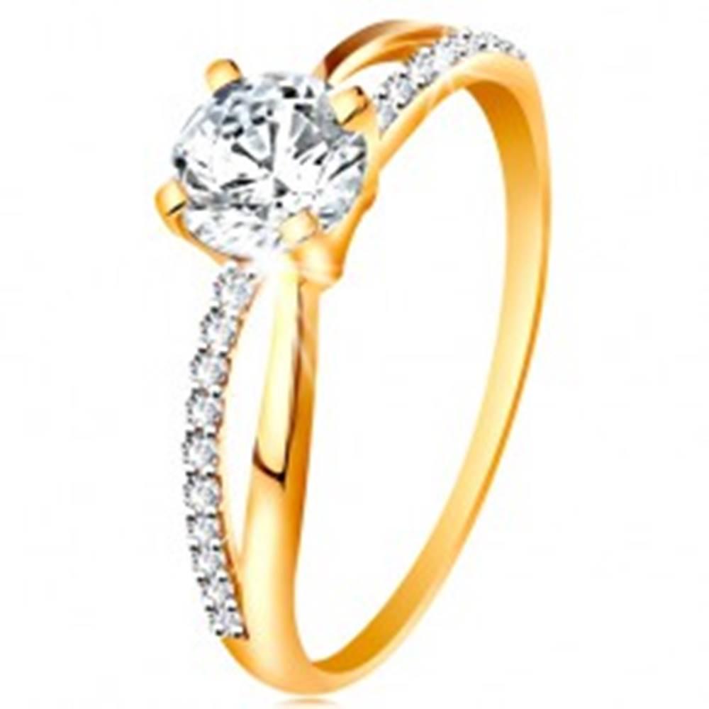Šperky eshop Prsteň zo zlata 585 - prekrížené rozdvojené ramená, okrúhly zirkón čírej farby - Veľkosť: 48 mm