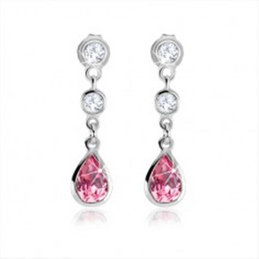 Šperky eshop Puzetové náušnice, ružová zirkónová kvapka, číre kamienky, striebro 925