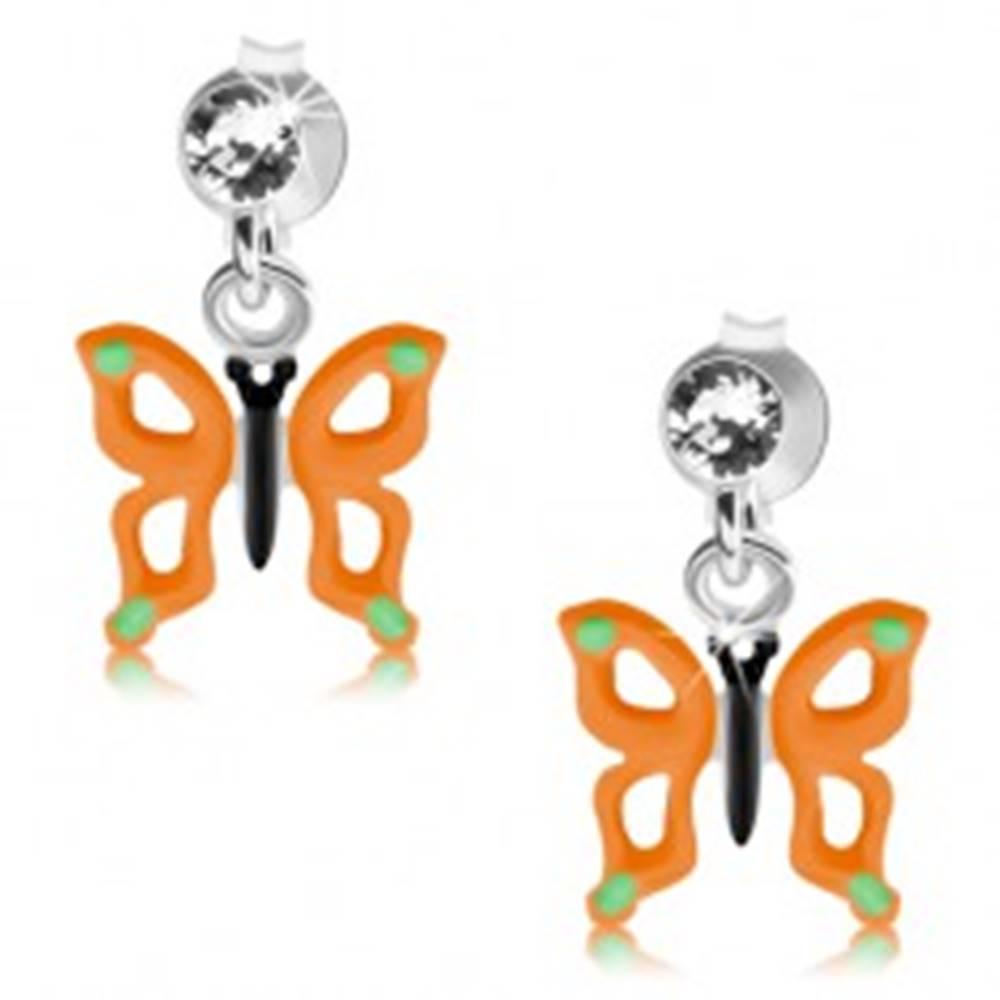 Šperky eshop Puzetové náušnice, striebro 925, motýľ s oranžovými krídlami, výrezy, krištáľ