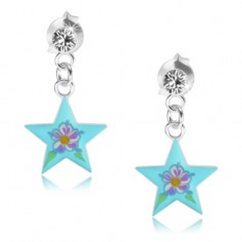 Šperky eshop Puzetové náušnice zo striebra 925, lesklá modrá hviezda, farebný kvietok, krištáľ
