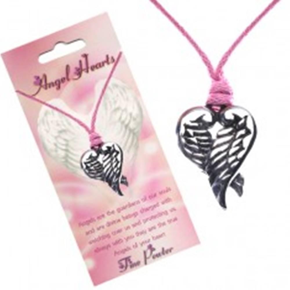 Šperky eshop Ružový náhrdelník - prívesok srdca z prekrížených krídiel