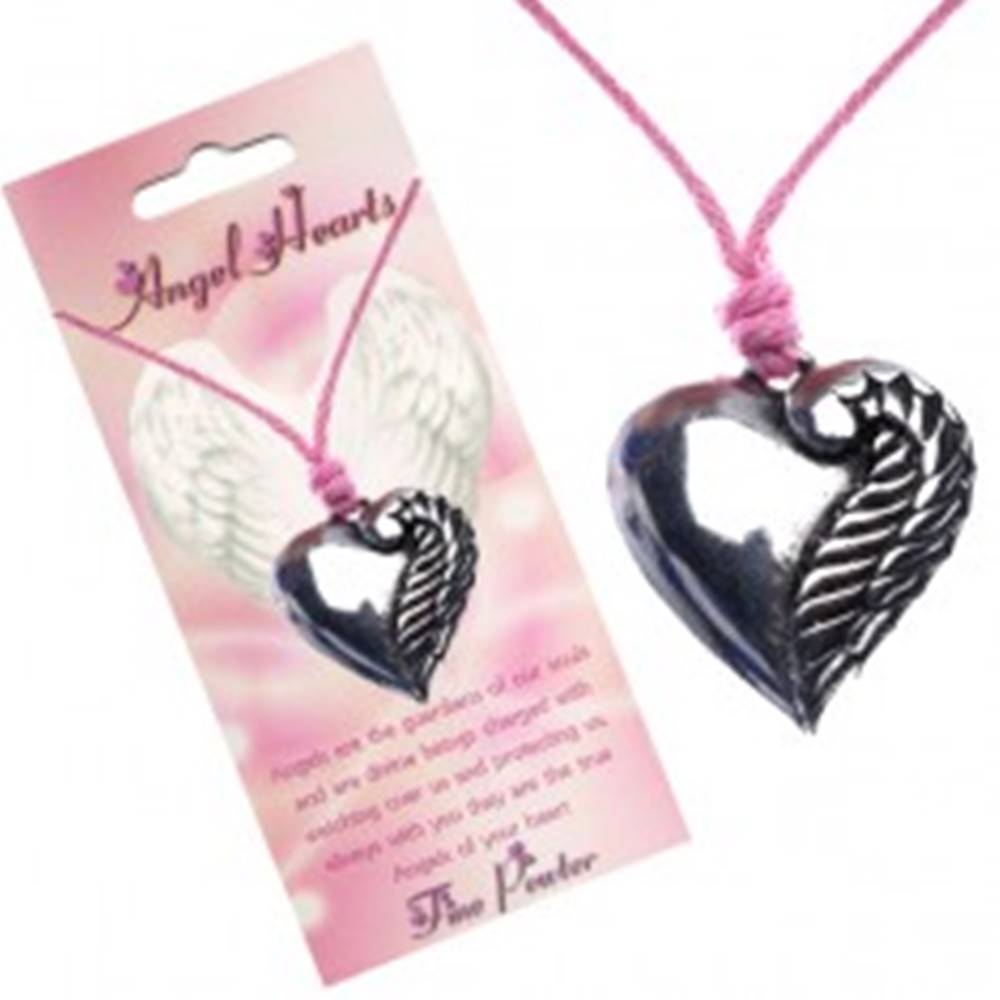 Šperky eshop Ružový náhrdelník, srdce striebornej farby s jedným krídlom