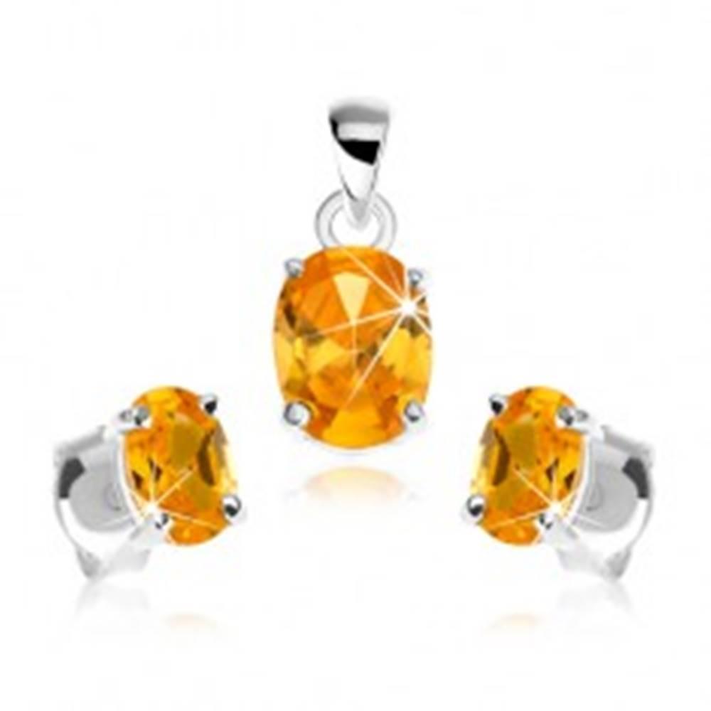Šperky eshop Sada zo striebra 925, prívesok, náušnice, zirkónový ovál žltej farby