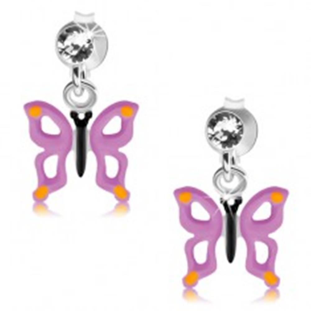 Šperky eshop Strieborné 925 náušnice, číry krištálik, motýľ s fialovými krídlami a výrezmi