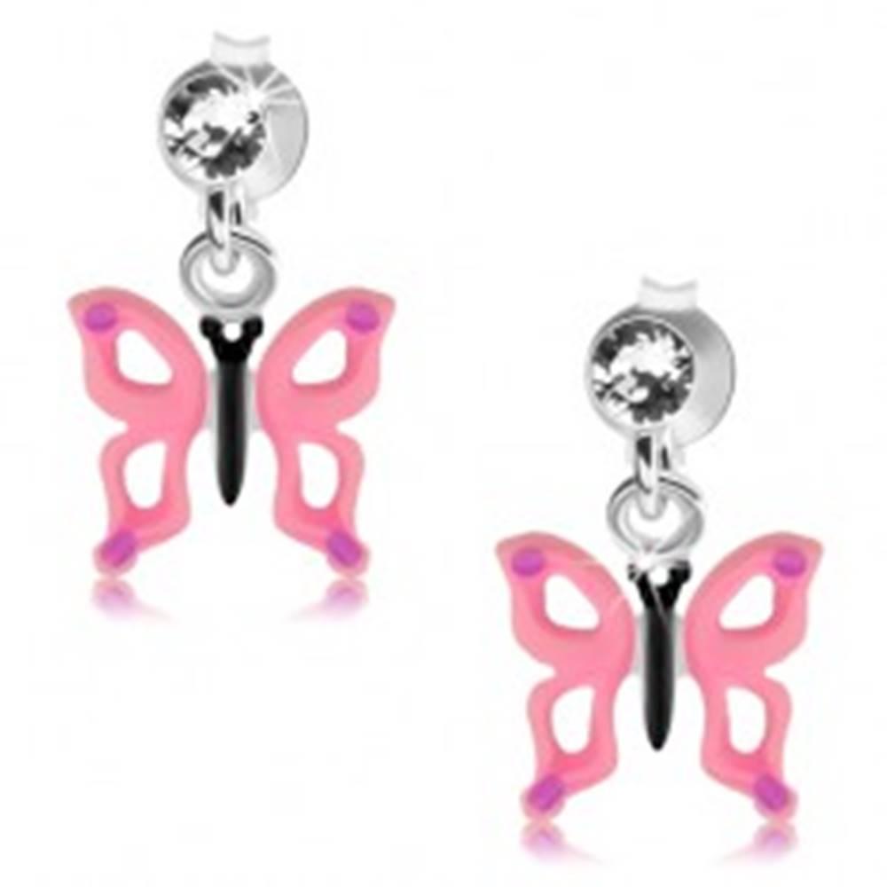 Šperky eshop Strieborné 925 náušnice, číry krištálik, motýľ s ružovými krídlami a výrezmi