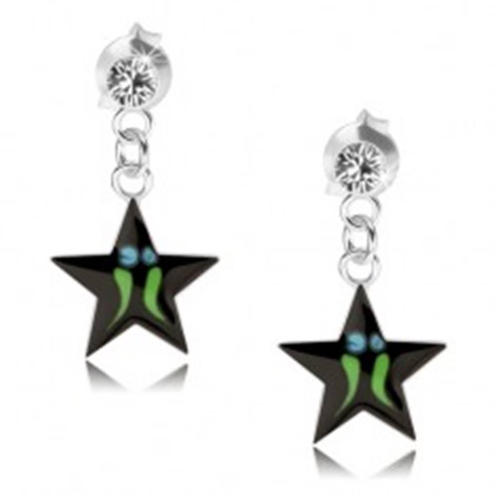 Šperky eshop Strieborné náušnice 925, čierna hviezda - zelené pásiky, číry Swarovski krištáľ